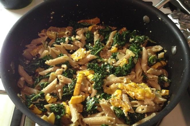 squash and kale pasta
