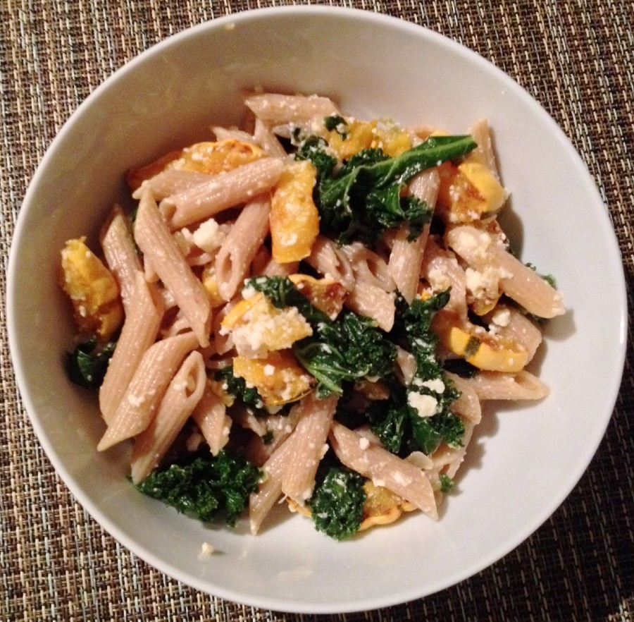 pasta with squash and kale