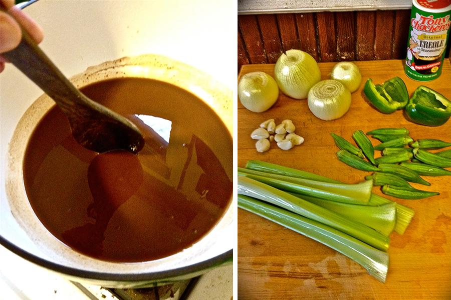 roux and gumbo ingredients