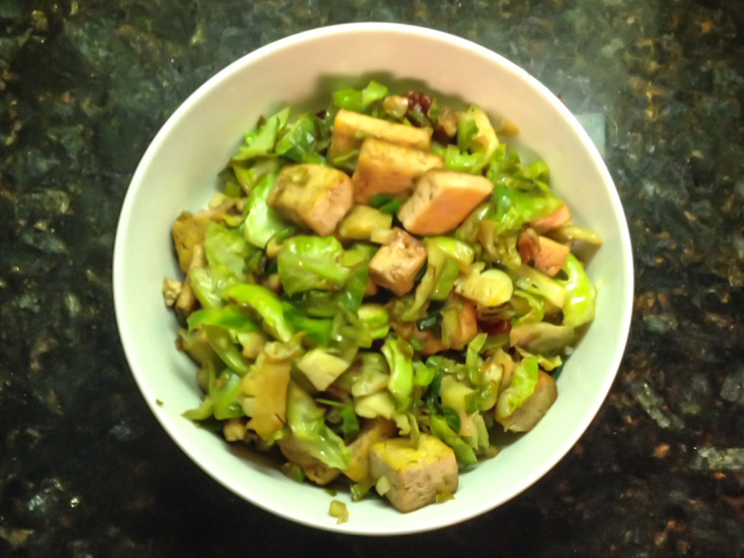 Caramelized Tofu and Brussels Sprouts